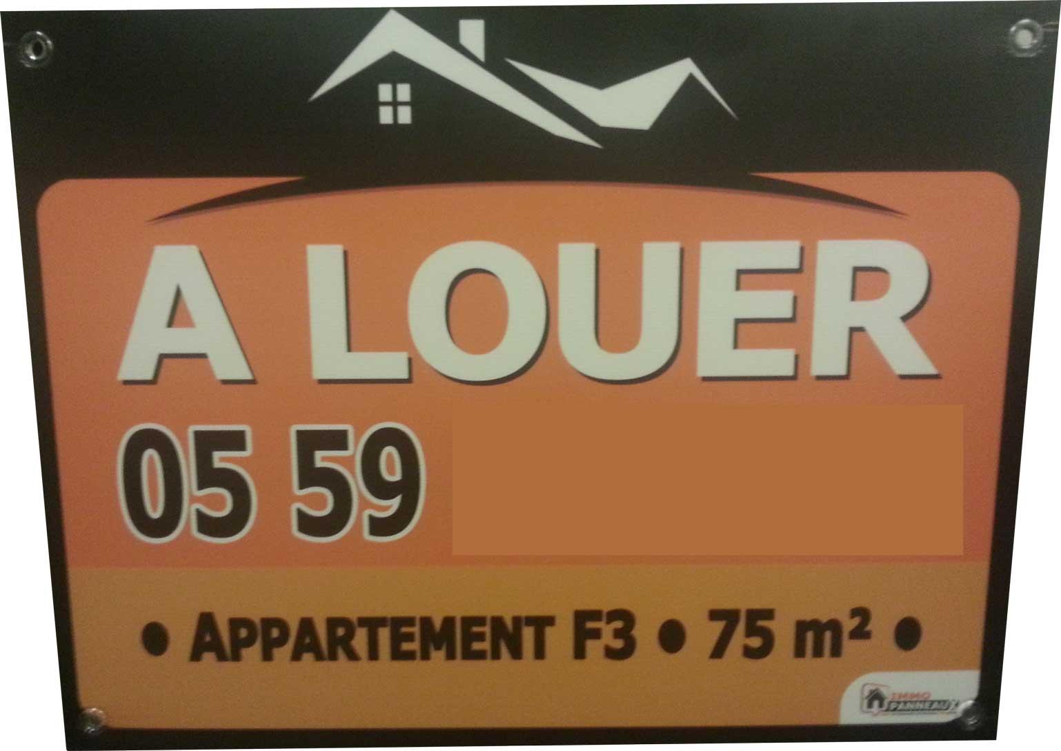 Panneau immobilier louer appartement f3 75 m le for A louer immobilier